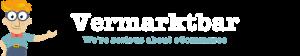 Vermarktbar.com Logo transparent, 860x160, weißer Schrift
